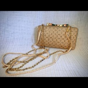 Kate Landry Gold Glitter Clutch With Straps